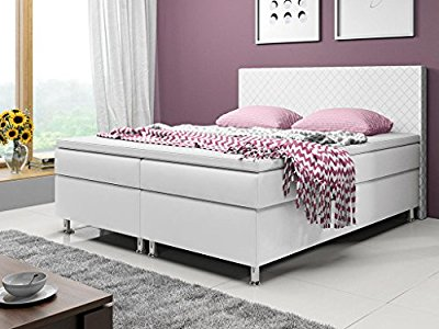 boxspringbett madrid polsterbett boxspringbetten betten 180x200 cm weiss inkl solide. Black Bedroom Furniture Sets. Home Design Ideas
