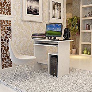 songmics computertisch mit tastaturauszug 3 regale 80 x 48. Black Bedroom Furniture Sets. Home Design Ideas