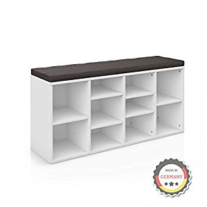 schuhschrank schuhregal schuhbank schrank bank regal 10 paar schuhe mdf in wei mit graubrauner. Black Bedroom Furniture Sets. Home Design Ideas