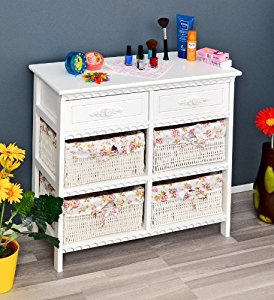 ts ideen kommode badschrank flurschrank mit 70 cm breite in weiss mit zwei schubladen und vier. Black Bedroom Furniture Sets. Home Design Ideas